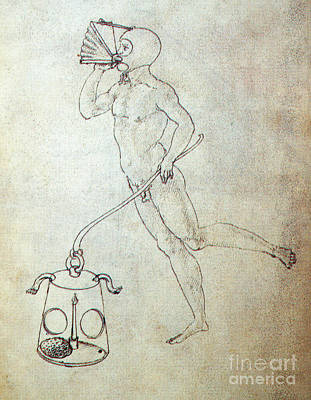 Underwater Breathing Photograph - Sienese Invention For Breathing by Science Source