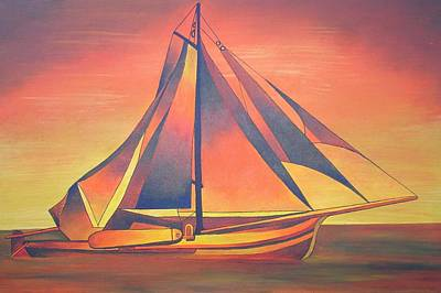 Print featuring the painting Sienna Sails At Sunset by Tracey Harrington-Simpson