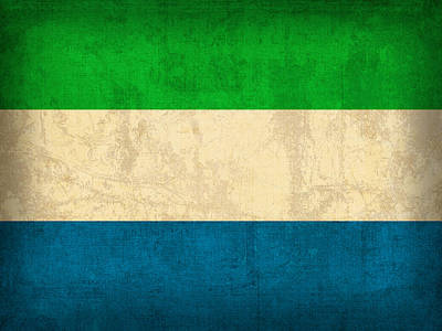 Sierra Leone Flag Vintage Distressed Finish Art Print by Design Turnpike