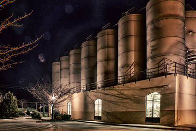 Photograph - Sierra Nevada Brewery Fermentation Tanks At Night by Robert Woodward