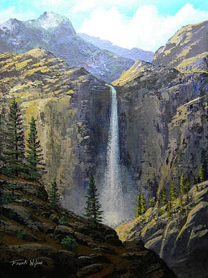 Yosemite Painting - Sierra Nevada Waterfall by Frank Wilson