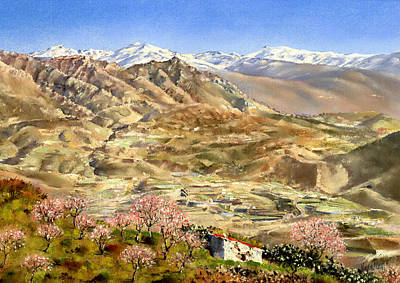Sierra Nevada With Almond Blossom Art Print by Margaret Merry