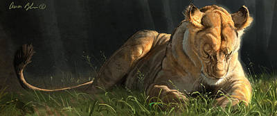 Lioness Digital Art - Siesta 2 by Aaron Blaise