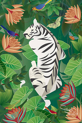 Digital Art - Siesta Del Tigre - Limited Edition 2 Of 15 by Gabriela Delgado
