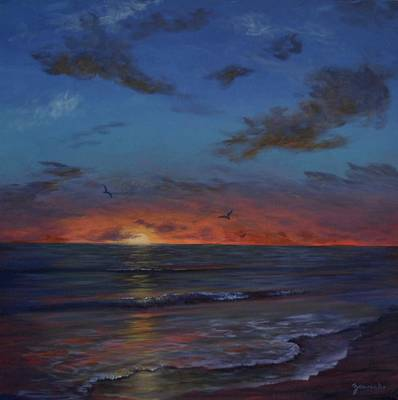 Sarasota Artist Painting - Siesta Key Sunset by Alan Zawacki