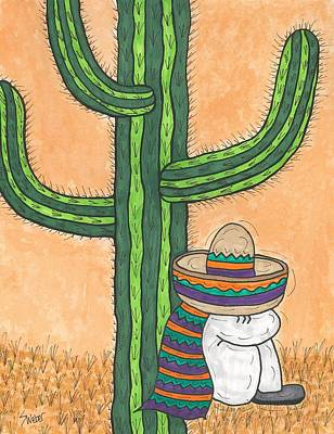 Art Print featuring the painting Siesta Saguaro Cactus Time by Susie Weber