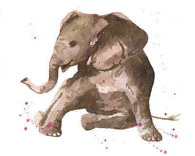 Baby Elephant Painting - Siesta Sophie Elephant by Alison Fennell