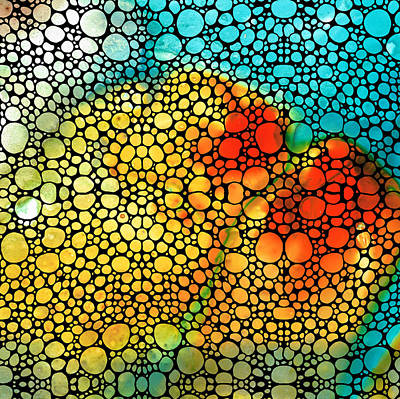 Mosaic Digital Art - Siesta Sunrise - Stone Rock'd Art Painting by Sharon Cummings