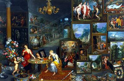 Cherub Painting - Sight And Smell  by Jan the Elder Brueghel