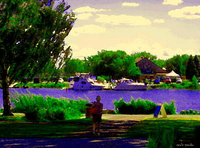 River Scenes Painting - Sights Along The Harbor Late Day Stroll Lachine Canal Bike Path Montreal Scenes Carole Spandau by Carole Spandau