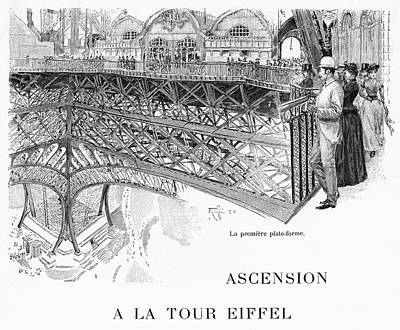 Eiffel Tower Drawing - Sightseers On The First by Mary Evans Picture Library