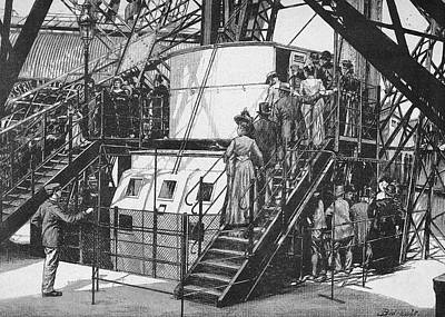 Eiffel Tower Drawing - Sightseers Queue For Lifts On The First by Mary Evans Picture Library