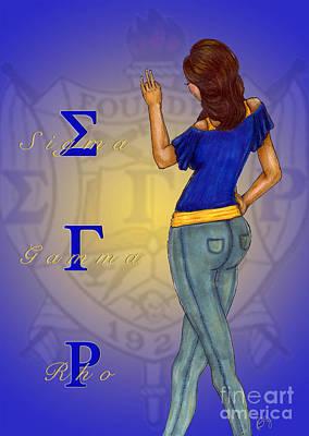 Lady In Blue Digital Art - Sigma Gamma Rho by BFly Designs