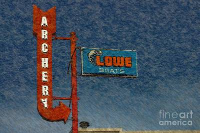 Photograph - Sign - Archery - Lowe Boats by Liane Wright