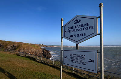 Sign At Guillamene Swimming Cove Art Print by Panoramic Images