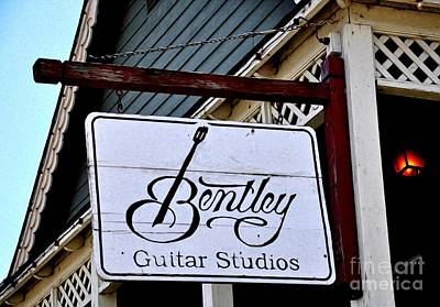 Photograph - Sign - Bentley Guitar Studios by Liane Wright