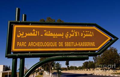 Sign For Archeological Ruins, Tunisia Art Print