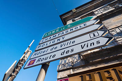 Sign For The Route Des Vins, Arbois Art Print by Panoramic Images