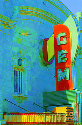 Digital Art - Sign - Gem Theater - Jazz District  by Liane Wright