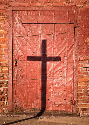 Photograph - Sign On A Red Iron Door by Chris Bordeleau