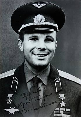 Signed Photo Of Yuri Gagarin Art Print by Detlev Van Ravenswaay