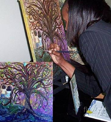 Sports Paintings - Signing the Tree with Jackie Joyner- Kersee  by Eloise Schneider Mote
