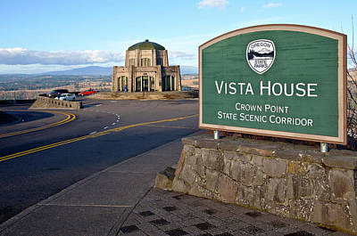Signpost At Vista House, Crown Point Art Print by Panoramic Images