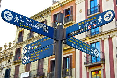 Bilingual Street Signs Photograph - Signs Barcelona by Galexa Ch