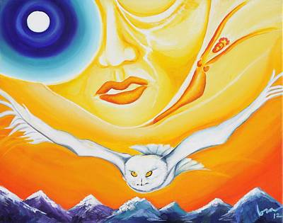 Sacred Feminine Moon Painting - Signs by Lora DAgnillo