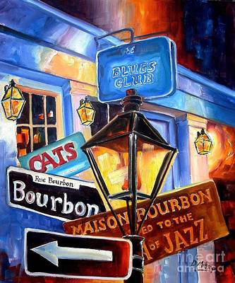 New Orleans Jazz Painting - Signs Of Bourbon Street by Diane Millsap