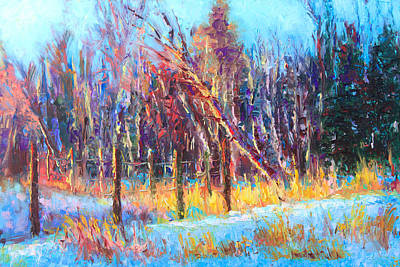 Melting Ice Painting - Signs Of Spring - Trees And Snow Kissed By Spring Light by Talya Johnson
