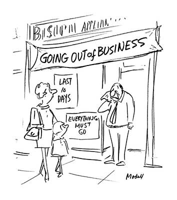 Crying Drawing - Signs Outside Business Windows: 'going by Frank Modell