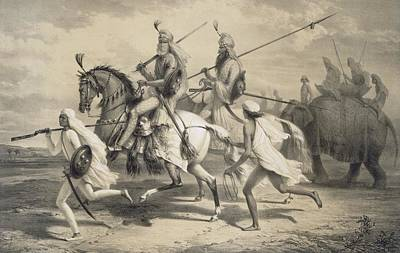 Running Horse Drawing - Sikh Chieftans Going Hunting by A Soltykoff