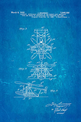 Sikorsky Helicopter Patent Art 1932 Blueprint Print by Ian Monk