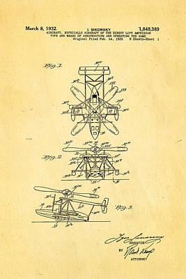 Helicopter Photograph - Sikorsky Helicopter Patent Art 1932 by Ian Monk
