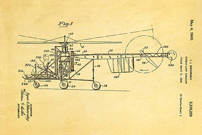 Helicopter Photograph - Sikorsky Helicopter Patent Art 1943 by Ian Monk