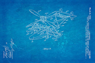 Sikorsky Photograph - Sikorsky Helicopter Patent Art 2 1932 Blueprint by Ian Monk