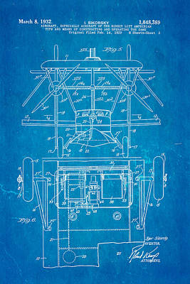 Sikorsky Photograph - Sikorsky Helicopter Patent Art 3 1932 Blueprint by Ian Monk