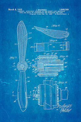 Flying Photograph - Sikorsky Helicopter Patent Art 4 1932 Blueprint by Ian Monk