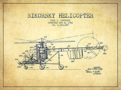 Helicopter Digital Art - Sikorsky Helicopter Patent Drawing From 1943-vintgae by Aged Pixel