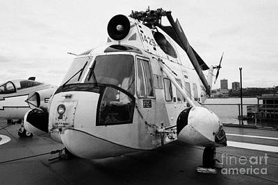 Sikorsky Hh 52 Hh52 Sea Guardian Helicopter On Display On The Flight Deck Art Print by Joe Fox