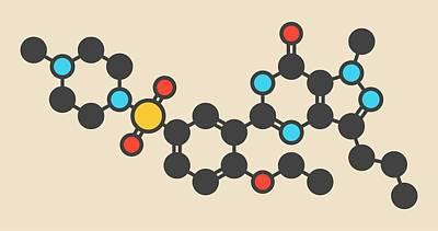 Sildenafil Drug Molecule Art Print
