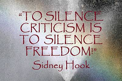 Silence Criticism Silence Freedom Art Print by Thia Stover