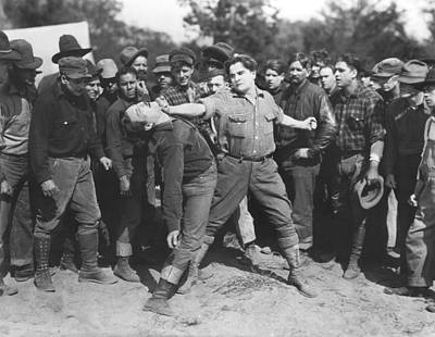 Photograph - Silent Film Fighting by Underwood Archives