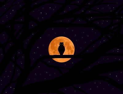 Silent Harvest Moonlight Predator Art Print