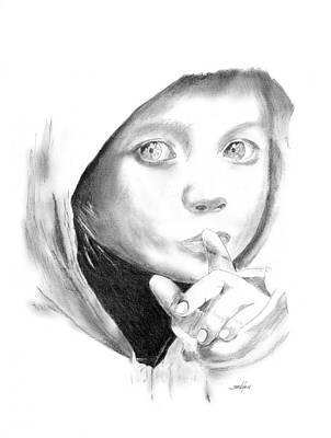 Hoodies Drawing - Silent Hoodie by John Jensen