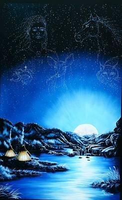Full Moon Painting - Silent Mysteryiii by Lori Salisbury