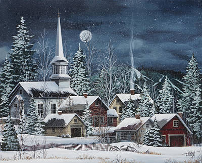 New England Snow Scene Painting - Silent Night by Debbi Wetzel