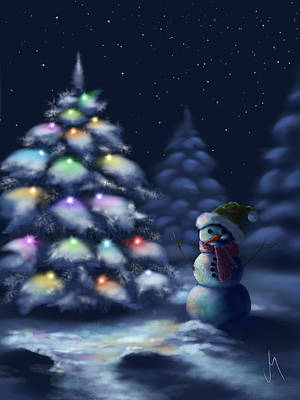 Snowy Night Painting - Silent Night by Veronica Minozzi