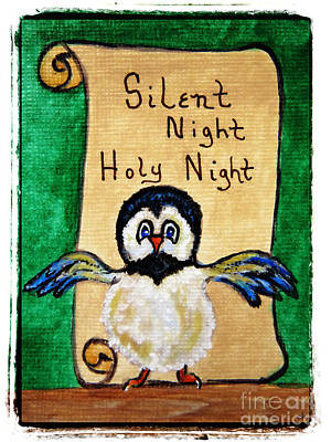 Silent Night - Whimsical Chickadee Choir Director Art Print by Ella Kaye Dickey